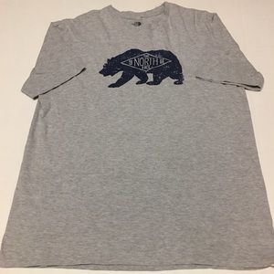 The north face spell out bear logo gray t shirt